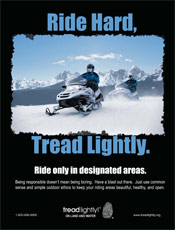 Ride hard, tread lightly snowmobiling poster