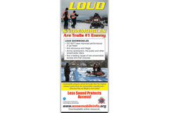 'Loud Snowmobiles Are Trails #1 Enemy' advertisement