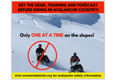 This 940 pixel x 788 pxel social-media meme warns of the danger of snowmobiling in avalanche country. 'Get the gear, training and forecast.'