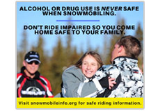 This 940 pixel x 788 pxel social-media meme warns of the dangers of mixing alcohol and drugs with snowmobiling.