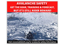 "Avalanche safety-rider beware""  Social media meme"