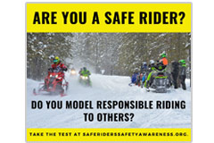 This 940 pixel x 788 pxel social-media meme promotes safe snowmobiling and modeling safe snowmobiling to others.