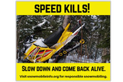 This 940 pixel x 788 pxel social-media meme warns of the danger of snowmobiling at excessive speed.