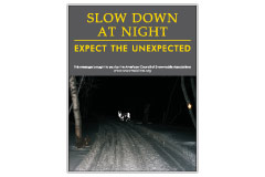 Vertical Poster of Snowmobilers and text 'Slow Down at Night. Expect the Unexpected'