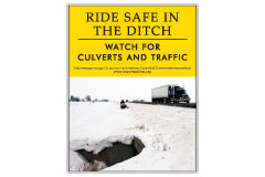 Vertical Poster of Snowmobilers and text 'Ride Safe in the Ditch. Watch for Culverts and Traffic.'
