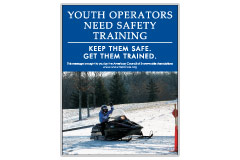 Vertical Poster of Snowmobilers and text 'Youth Operators Need Safety Training. Keep Them Safe. Get Them Trained.'